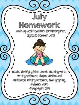 Kindergarten Homework Packet - July - English and Spanish
