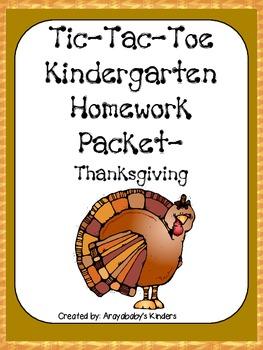 Kindergarten Homework Packet- November