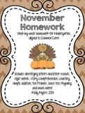 Kindergarten Homework Packet - November - English and Span