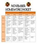 Kindergarten Homework Packet November *Common Core*