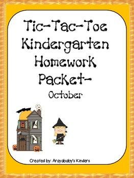 Kindergarten Homework Packet-October