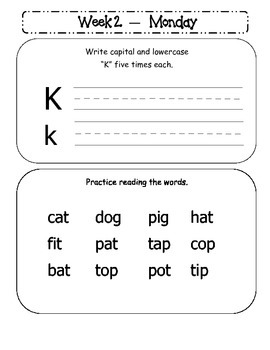 Kindergarten Homework Packet October