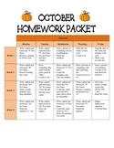 Kindergarten Homework Packet October