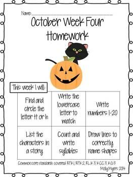Kindergarten Homework Packet - October - English and Spanish - Aligned to CC