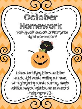 Kindergarten Homework Packet - October - English and Spani