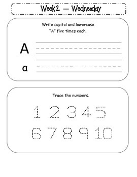 Kindergarten Homework Packet September