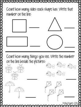 Kindergarten Homework Packet - September - English and Spanish - Aligned to CC