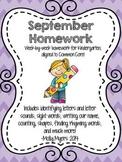 Kindergarten Homework Packet - September - English and Spa