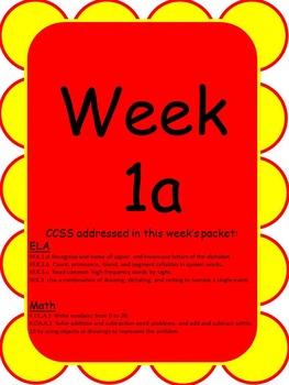 Kindergarten Homework Packets--Set A