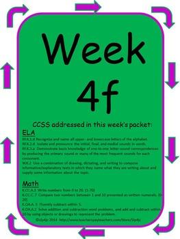 Kindergarten Homework Packets--Set F