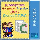Kindergarten Homework Practice Sounds S,T,P and C