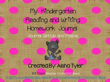 Kindergarten Homework Reading and Writing Journal