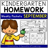 Kindergarten Homework- September (English Only) Aligned to CC