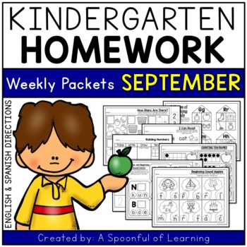 Kindergarten Homework- September (English & Spanish Directions) Aligned to CC