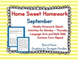 Kindergarten Homework: September Home Sweet Homework