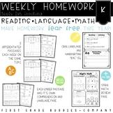 Kindergarten Differentiated Weekly Homework with Reading, Comprehension, Math