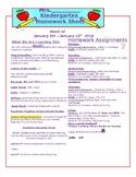 Kindergarten Homework Sheet Template