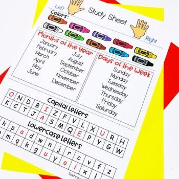 Study Sheet Kindergarten and Pre K