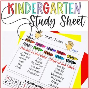 Kindergarten Homework Study Skills Sheet