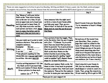 Kindergarten Homework Suggestions