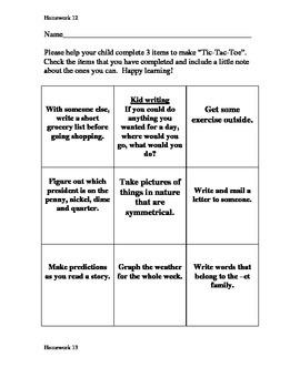 Kindergarten Homework -Weeks 11- 20