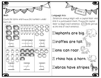 Kindergarten Homework - Whole Year