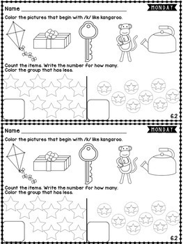 Kindergarten Homework Wonders Edition: Unit 6