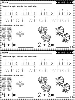 Kindergarten Homework Wonders Edition: Unit 8