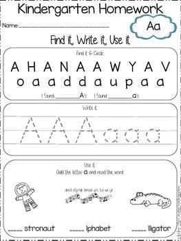 Kindergarten Homework {a-z}