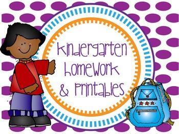 Kindergarten Homework and Printables- Continuing Resource!