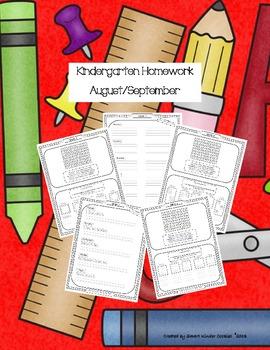 Kindergarten Homework for August and September