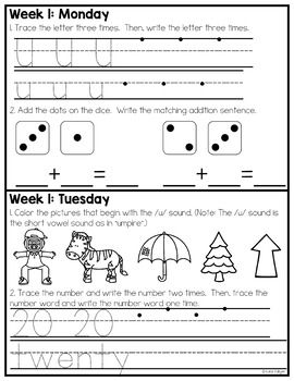Kindergarten Homework for February