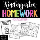 Kindergarten Homework for November
