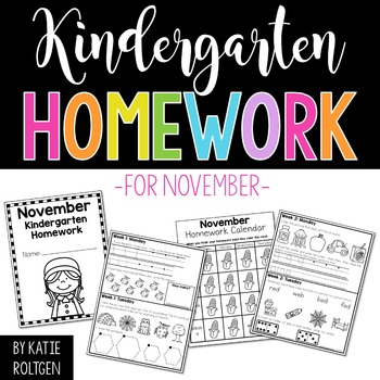 Kindergarten Homework for November