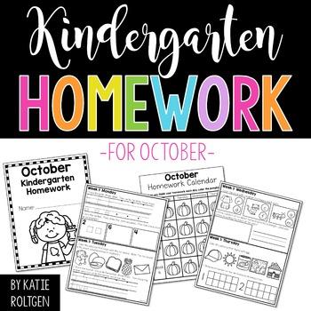 Kindergarten Homework for October