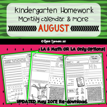 Kindergarten Homework for the Month of AUGUST