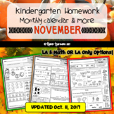 Kindergarten Homework for the Month of NOVEMBER