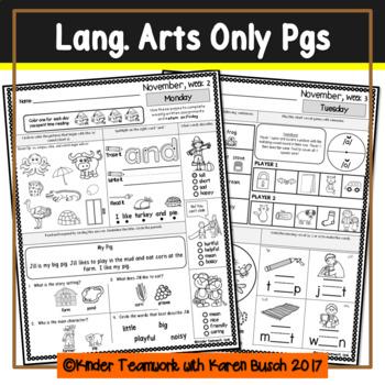Kindergarten Homework for the Month of NOVEMBER