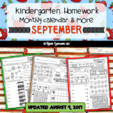 Kindergarten Homework for the Month of SEPTEMBER