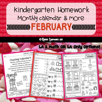 Kindergarten Homework for the month of FEBRUARY