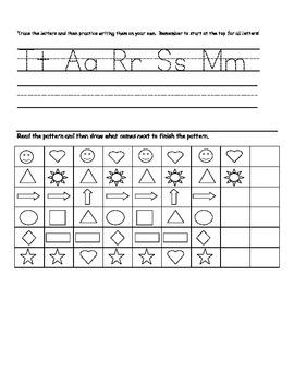 Kindergarten Homework weeks 1-2