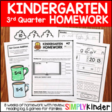 Kindergarten Homework with Weekly Family Games - Editable - 3rd Quarter
