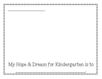 Kindergarten Hopes and Dreams Sheet