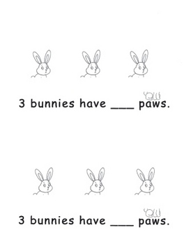 Kindergarten How Many Paws? Bunny Addition Book
