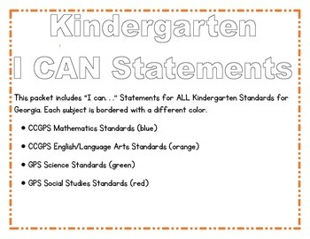 Kindergarten I CAN Statements--All Subjects