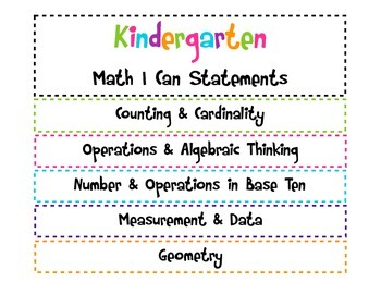 Kindergarten I Can Common Core Math Statements