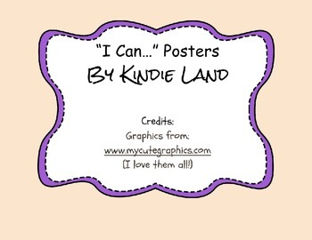 Kindergarten I Can Posters For Student Goals