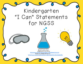 "Kindergarten ""I Can"" Printables for NGSS (Next Generation"