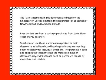 Kindergarten I Can Statement Posters ELA - Newfoundland and Labrador