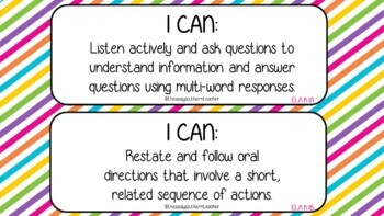 Kindergarten I Can Statements